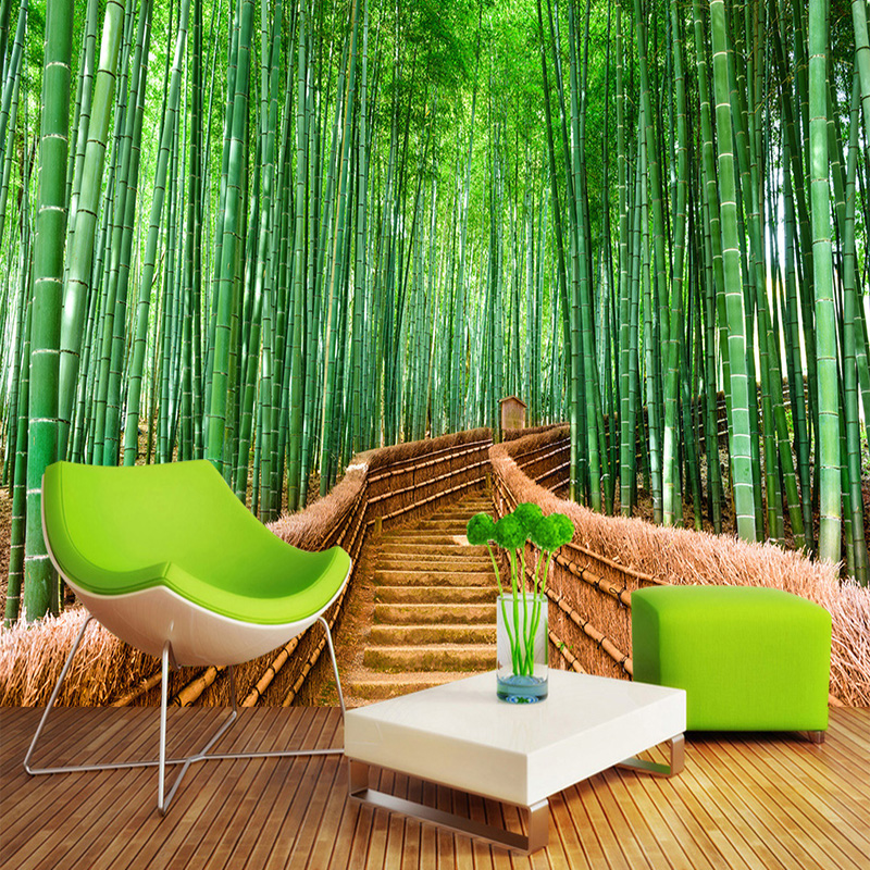 3D Wallpaper Chinese Style Green Bamboo Path Nature