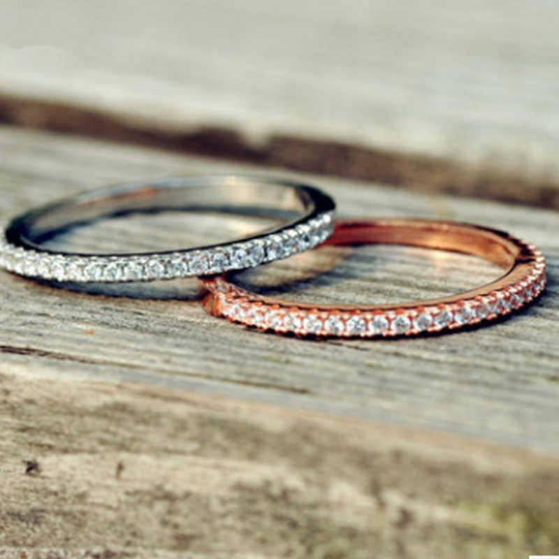 Utimtree เรียบง่ายเงิน/Rose Gold สีคริสตัลแหวนสำหรับผู้หญิง AAA Cubic Zircon หมั้นแหวน anillos anel