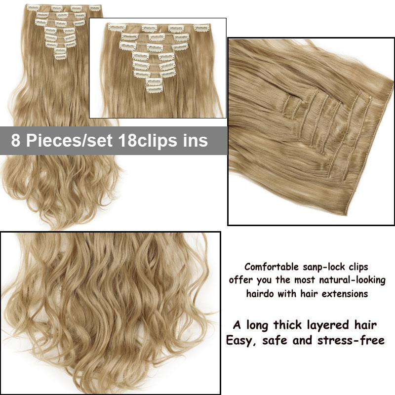 Snoilite 8pcsset 24inch 180g Curly 18 Clips In Hair Styling