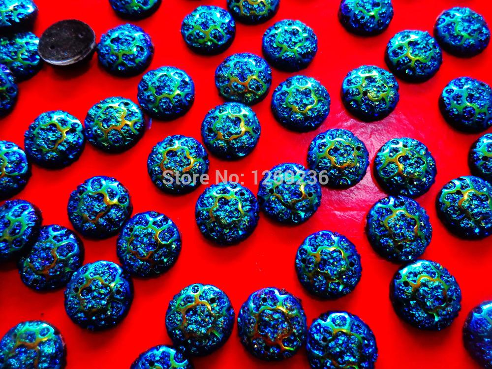Round 12mm sew on Resin crystal Deep Blue AB Color Rhinestones Stones Accessores Loose Beads 150pcs/lot