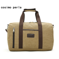 Fashion Canvas Weekend Bags Men Travel Duffle Bag Large Capacity Short Trip Business Tote Bag Retro Casual Sports Fitness Bag