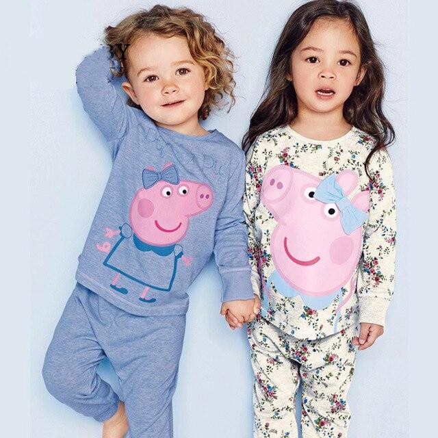 Осень марка розовая свинья девочки мальчики Пижамы детская одежда устанавливает 2-7Y Пижамы мультфильм ребенка пижамы костюм Loungewear Костюм