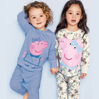 2016 Spring Autumn Brand Peppa Pig Kids Girl Clothes Sets 2 7Y Cartoon Style Sleapwear Costume