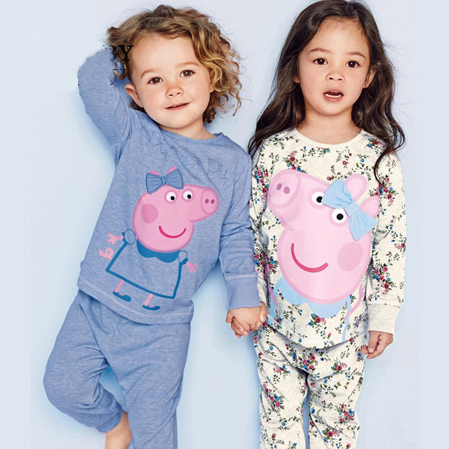Autumn brand pink pig girls boys pajamas kids clothes sets 2-7Y Pyjamas cartoon baby sleepwear costume Loungewear Tracksuit