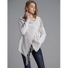 Cardigan Sweater Women Autumn Winter Knitwear Asymmetrical Tassel Full Sleeve Knitted for E1918