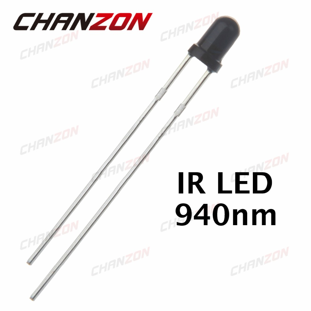 Active Components 500pcs 3mm Transparent Ir Led 3mm Transparent Infrared 940nm 940 Nm Led Light Emitting Diode Lamp Water Clear Bulb