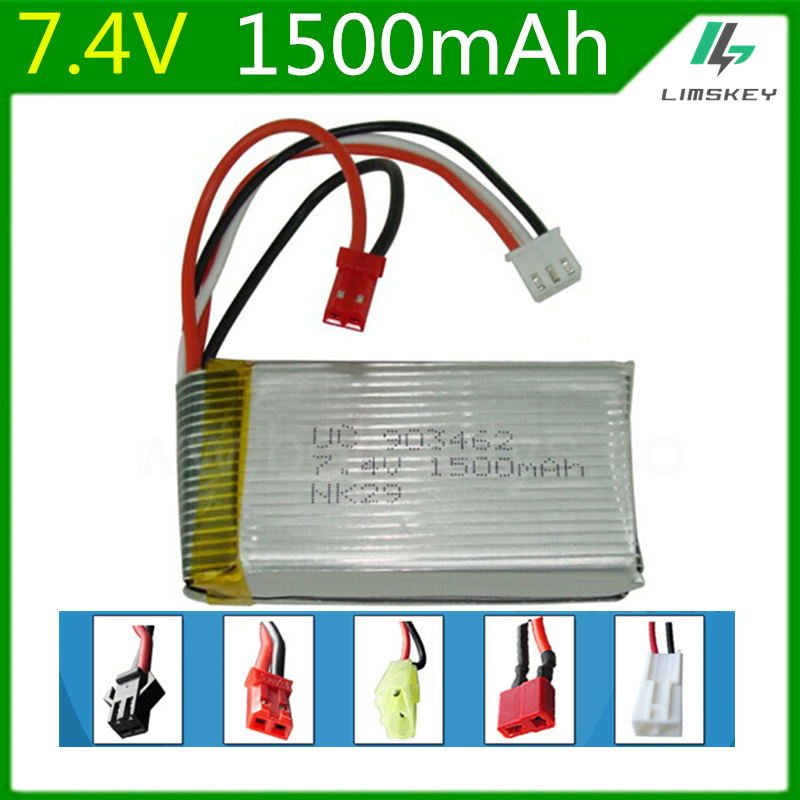 7.4V 1500mAh 1242 Lipo battery For WLtoys V913 L959 L202 days Yi TY923 Huajun HJ817 HJ816 903462 SM/JST/ T Plug Toy Battery 4pcs wltoys v913 v913 25 rc helicopter spare parts 7 4v 1500mah battery v913 battery
