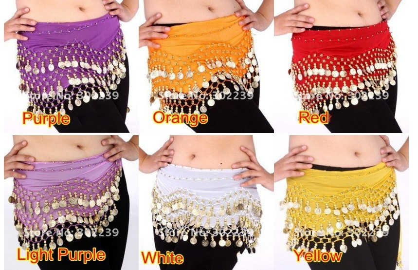 100pcs high quality chiffon Egypt belly dance fitness costume wear hip wraps 128 coins belt chain 2pcs for free gifts new year in Belly Dancing from Novelty Special Use