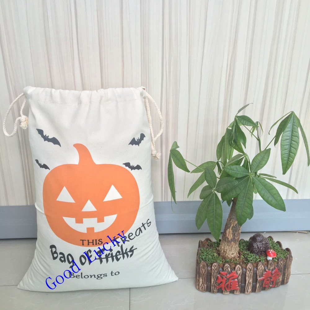 50pcslot monogrammed kids candy bags halloween gift bags 4 styles drawstrings good quality cotton canvas pouch bags - Halloween Gifts Kids