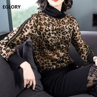 Turtleneck Tops 2019 Spring Autumn Fashion Blouse Tops Women Sexy Wild Leopard Print Sequined Patchwork Long Sleeve Casual Blusa