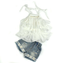 2017 Toddler Kids Baby Girls Chiffon Pearl Vest Shirt+Jean Shorts Outfits Clothes Set BFOF
