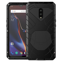 For Oneplus 6 6T Phone Case Hard Aluminum Metal Tempered Glass Screen Protector OnePlus 7 7Pro Cover Heavy Duty Protection