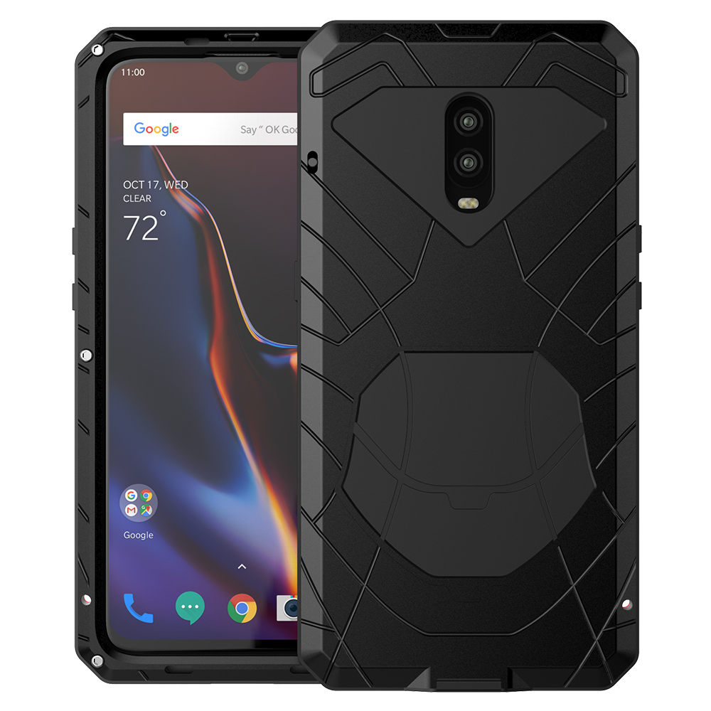 Pour Oneplus 6 6 T coque téléphone dure aluminium métal verre trempé protecteur d'écran Oneplus 7 7Pro couverture Protection robuste