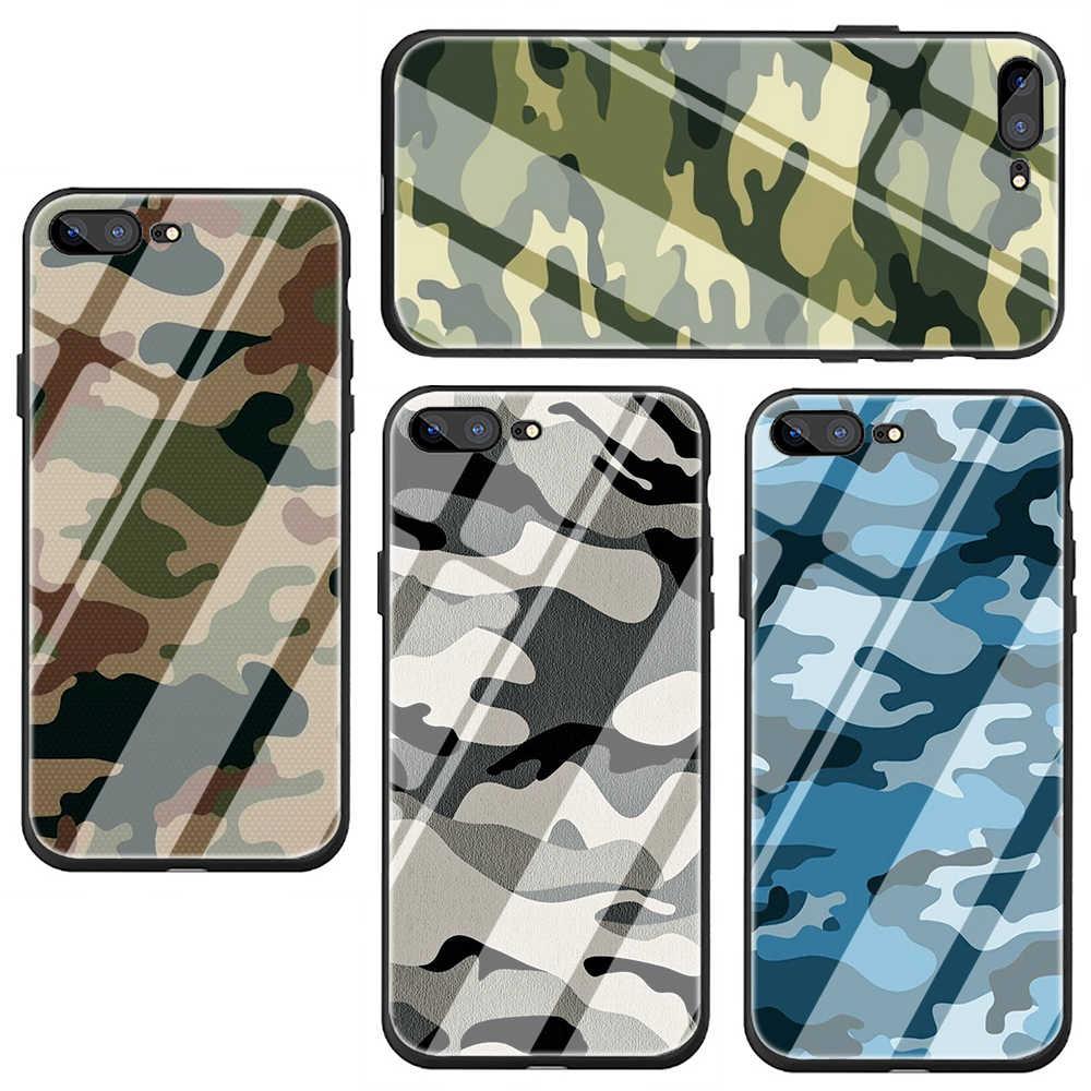 الجيش كامو التمويه الزجاج المقسى غطاء الهاتف حقيبة لهاتف أي فون 5 5s 6 6S Plus 7 8 Plus X XS XR 11 Pro Max