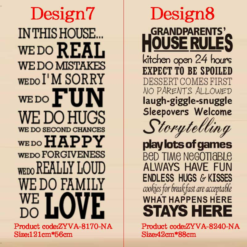 in this house rules wall stickers family room decoration 8085  diy vinyl  adesivo de parede home decal print mural art poster 4 0-in Wall Stickers  from