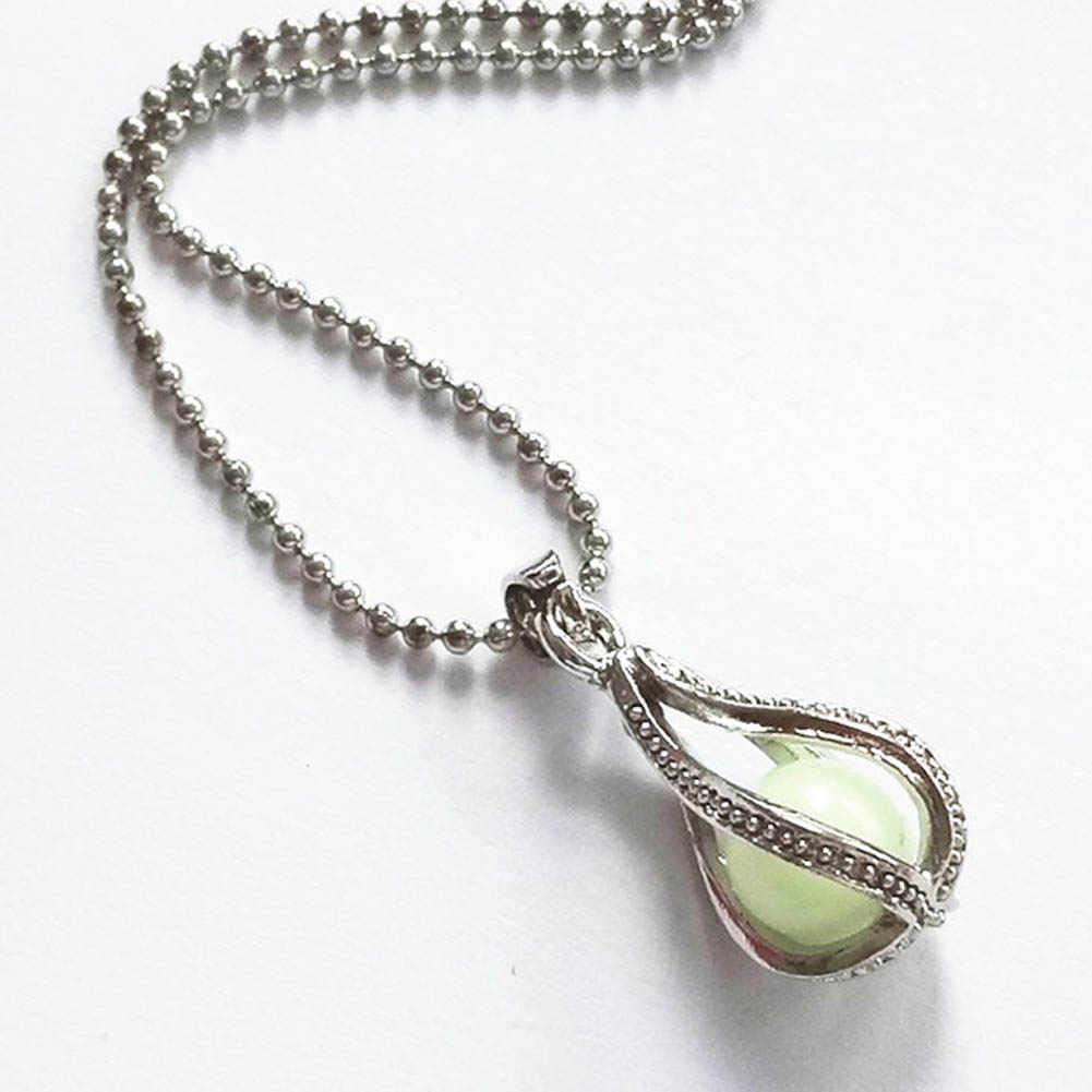 ファッション中空スパイラル発光人工宝石水滴ネックレスエレガントなオープン化可能なペンダント