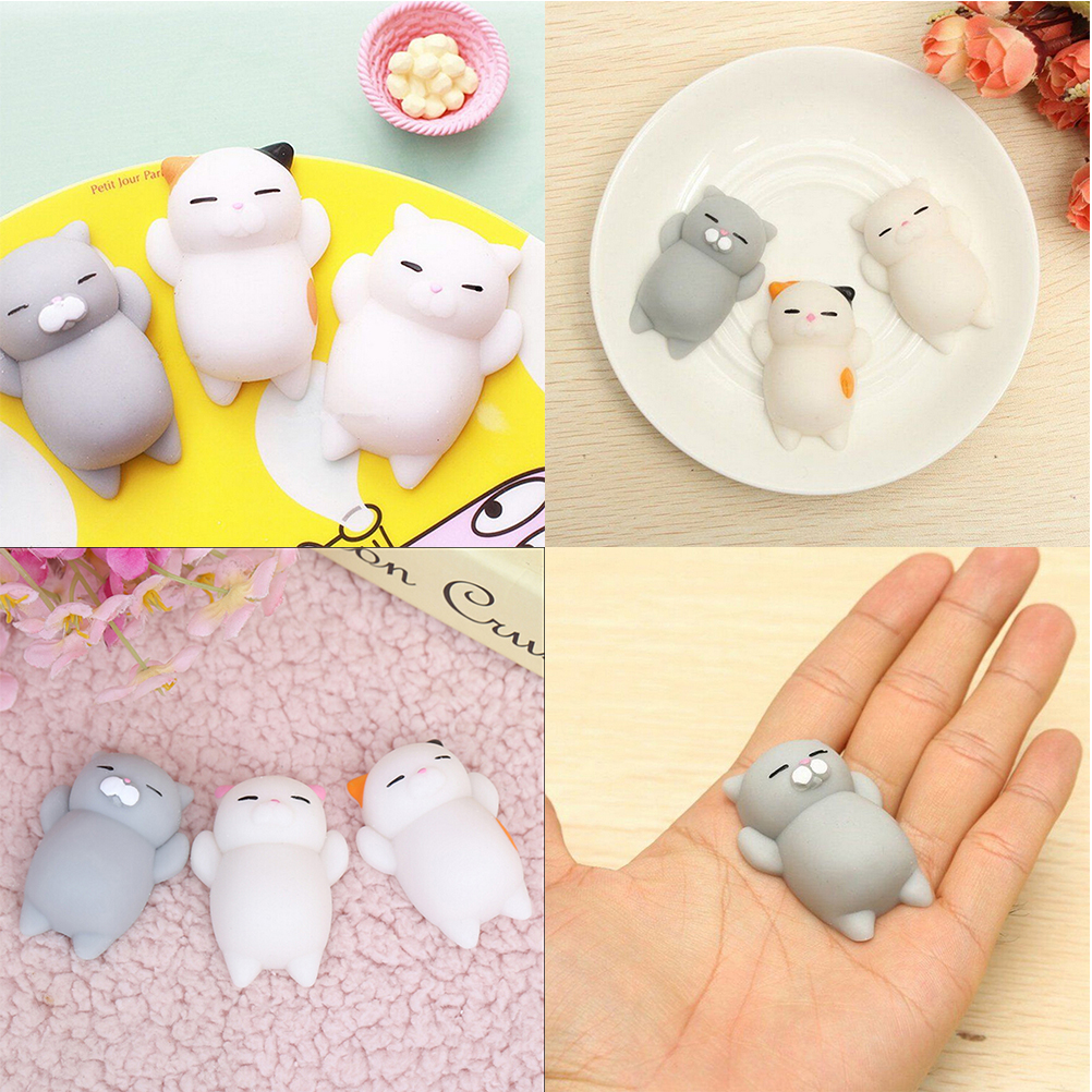 1pcs Mini Kawaii Squeeze Stretchy Animal Healing Stress Finger Toys Squishy White Cat Animals Anti-stress Hand Toys