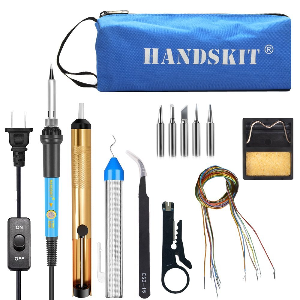 Handskit Soldering Iron Soldering Iron Kit 60W EU 220V Rework Station Welding Desoldering Pump Iron Tip Solder Wire Bag 1pc welding soldering solder iron tip cleaner cleaning steel wire with stand set soldering iron stand adjustable brand new