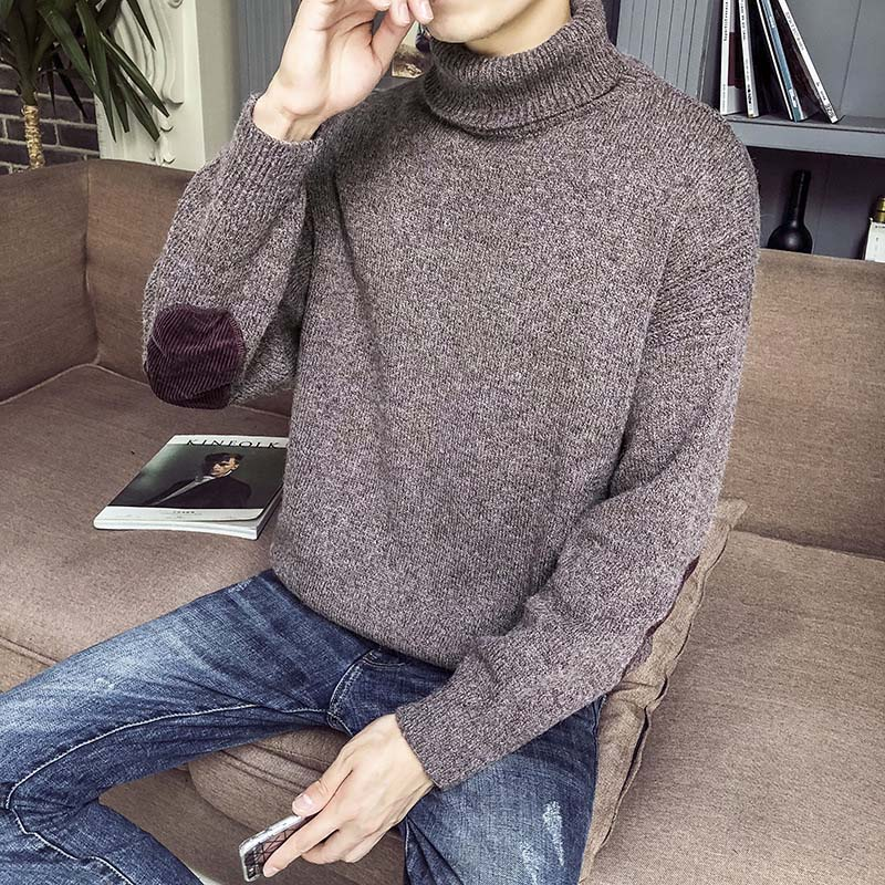 Man Autumn Winter Turtleneck Sweater Solid Color Pullover Knitting Sweater FS99