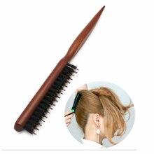 Brosse à poils de sanglier naturels, peigne moelleux, manche en bois, outils de coiffure, de haute qualité