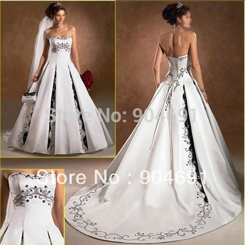 Navy Blue Embroidery Wedding Gown White Bridal Supplier Of A Line Dress Plus