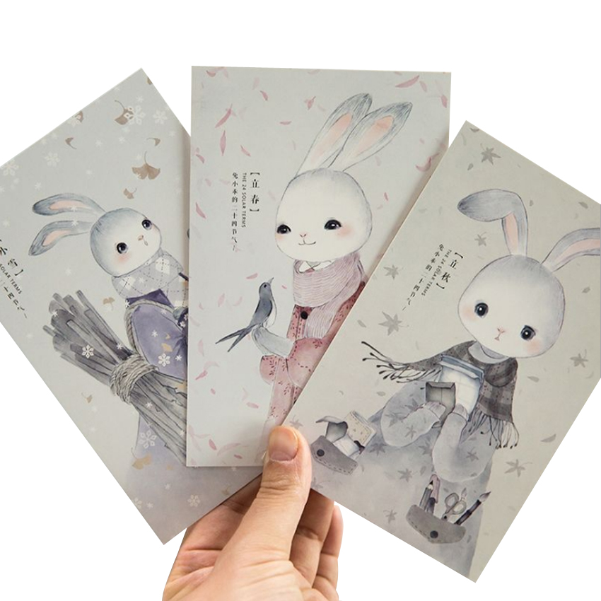 4packs/lot Lovely Rabbit Postcard/Greeting Card/Message Card/Birthday Letter Envelope Gift Card