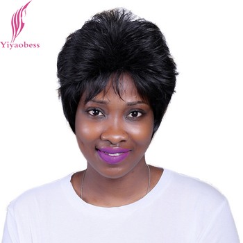 Yiyaobess 10inch Synthetic Puffy Short Black Wig For Middle Age Women Heat Resistant Straight Natural Hair Wigs