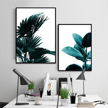 Nordic Decorative Painting with Green Plant Leaves Modern Simple Bedroom Living Room Scenic Landscape Canvas Wall Art