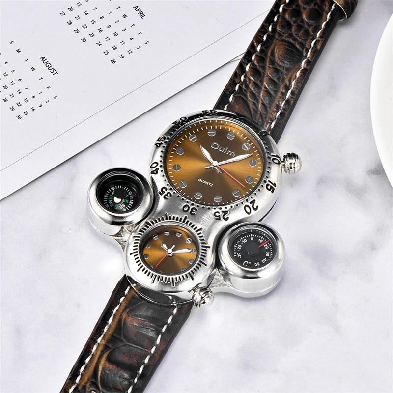 Image 3 - Мужские часы Oulm, спортивные, кварцевые, с кожаным ремешком, декоративные, с компасом, термометромКварцевые часы   -