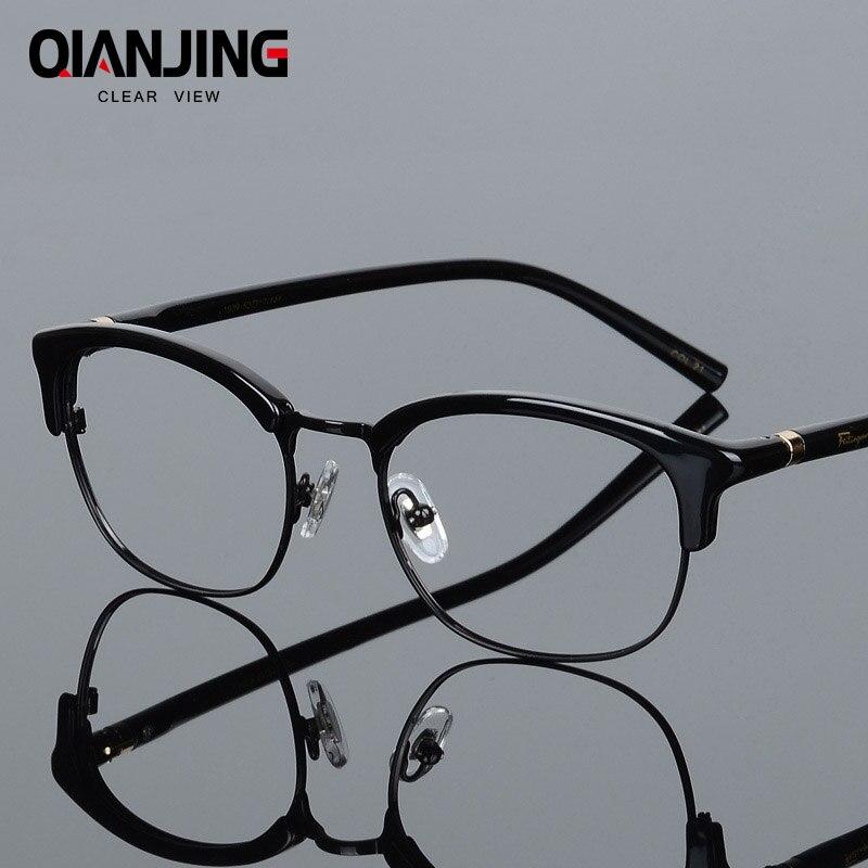 d3bd1112f4 QIANJING Brand New Fashion Style High End Optics Prescription Eyeglasses  Frame Men for Plate Frame Glasses Full frames Women