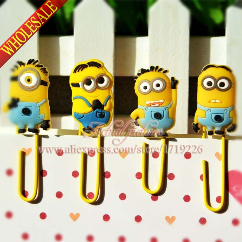 Good quality,4pcs/set Despicable Me/ Minions Paper Clips /Bookmarks for Book Page Holder,School/Office Supplies Stationery