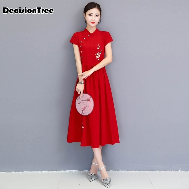 2019 summer chinese retro embroidery qipao women chinese traditional dress female short sleeve cheongsam embroidery cotton dress