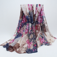 High quality Bohemian Beach Voile Soft Long Scarf Women Printed Wrap Shawl Stole Scarves 180*90CM BLS020(China)