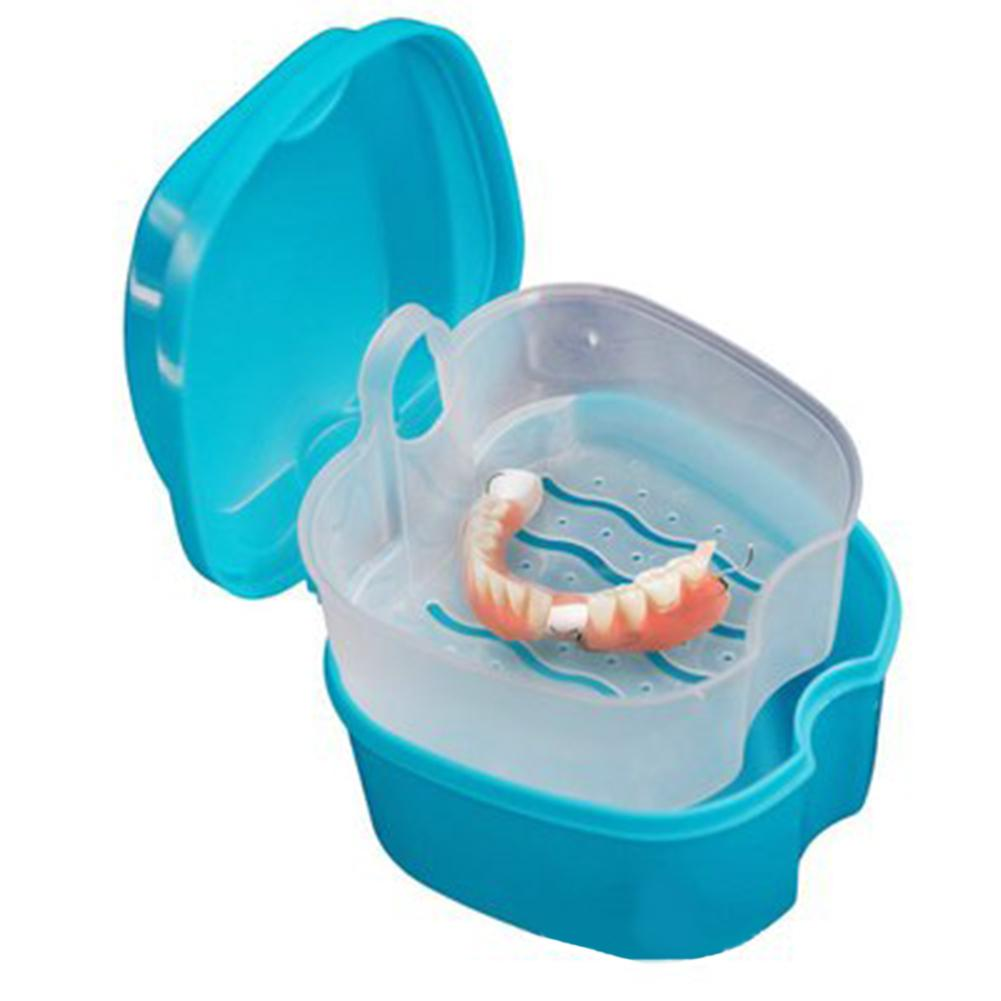 PP Dentures False Teeth Box Denture Bath Box Case Dental Fake Teeth Storage Box With Hanging Net Container Teeth Care Tool