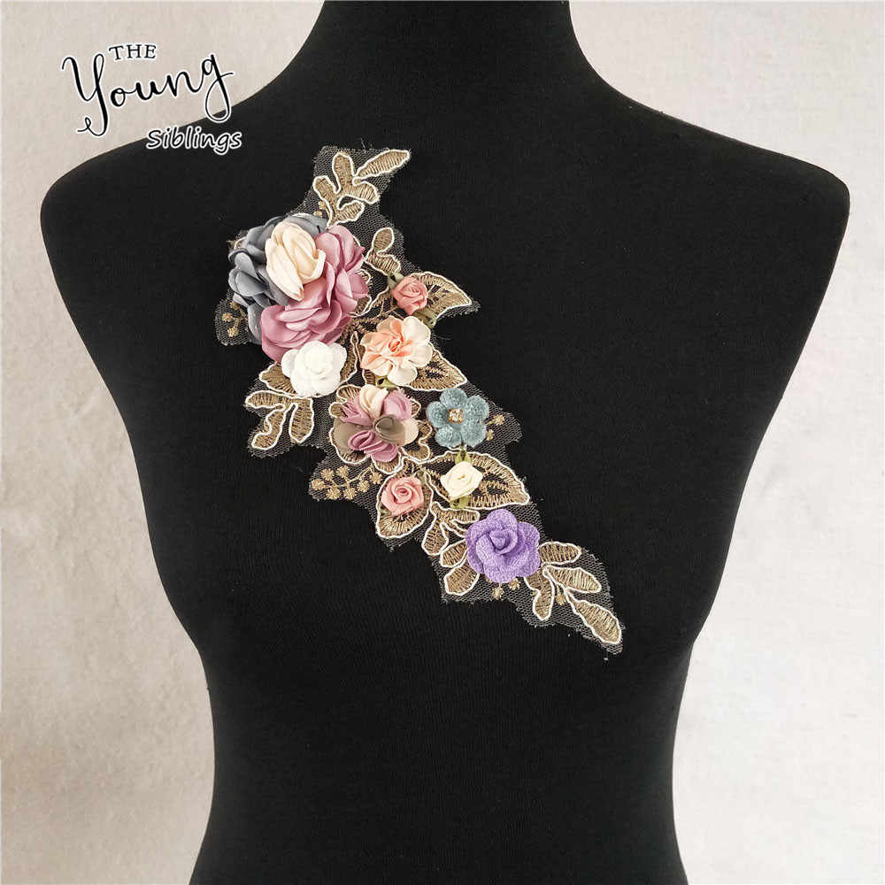 Rose Floral With Rhinestone Applique Bridal Gown Lace Embroidery Patches DIY Lace Collar Neckline Decorate Sewing Craft Supplies
