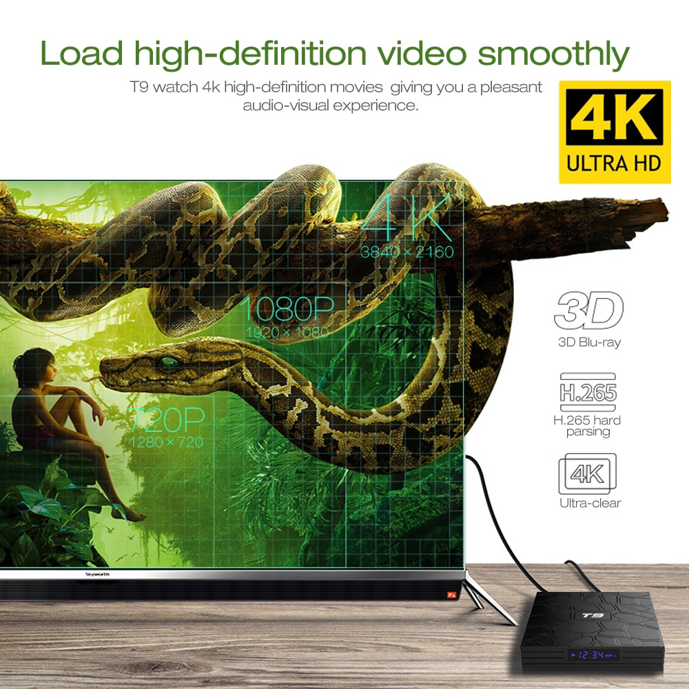 VONTAR T9 Android TV Box Android 9.0 4 GB 32 GB 64 GB Smart TV Rockchip RK3328 1080 P H.265 4 K GooglePlay lecteur multimédia PK H96 - 4