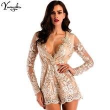 2018 New Sexy Women Summer Jumpsuit Mesh Long Sleeves Embroidery Bodysuit Body Feminino Elegant Fashion Playsuit
