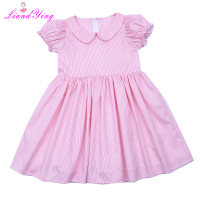Girls Dress Brand Pink Summer Beach Style Stripe Print Party Peter Pan Collar Dresses 3 4