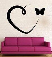 벽 스티커 비닐 데칼 낭만적 인 사랑 심장 나비 시원한 방 장식