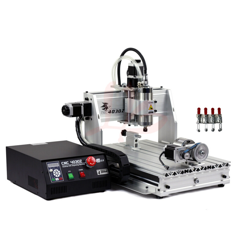 4axis mini CNC Router 3040 800W VFD water cooled spindle PCB Engraver Machine for 3D metal milling work