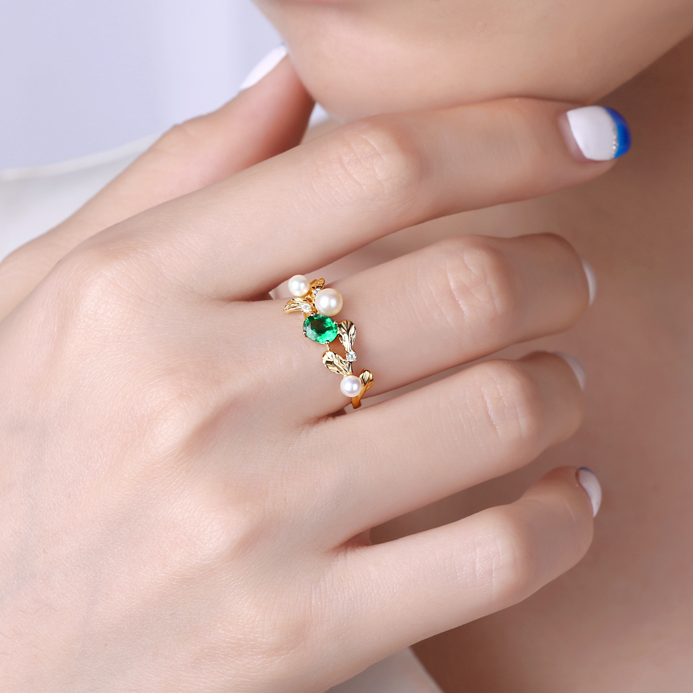 Caimao 14k Gold Natural 0.45ct Emerald with Pearl & Diamond Vintage ...