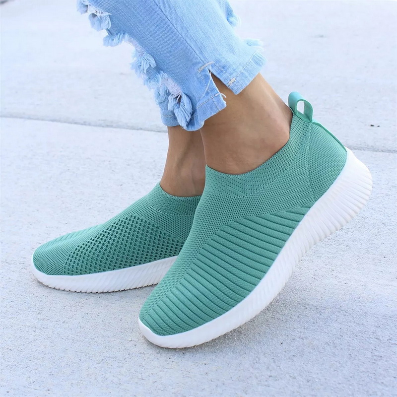 MoneRffi Women Knitted Vulcanized Casual Sneakers Shoes Woman Fashion Slip On Sock Air Mesh Flat Shoes Sneakers Flat Big Size