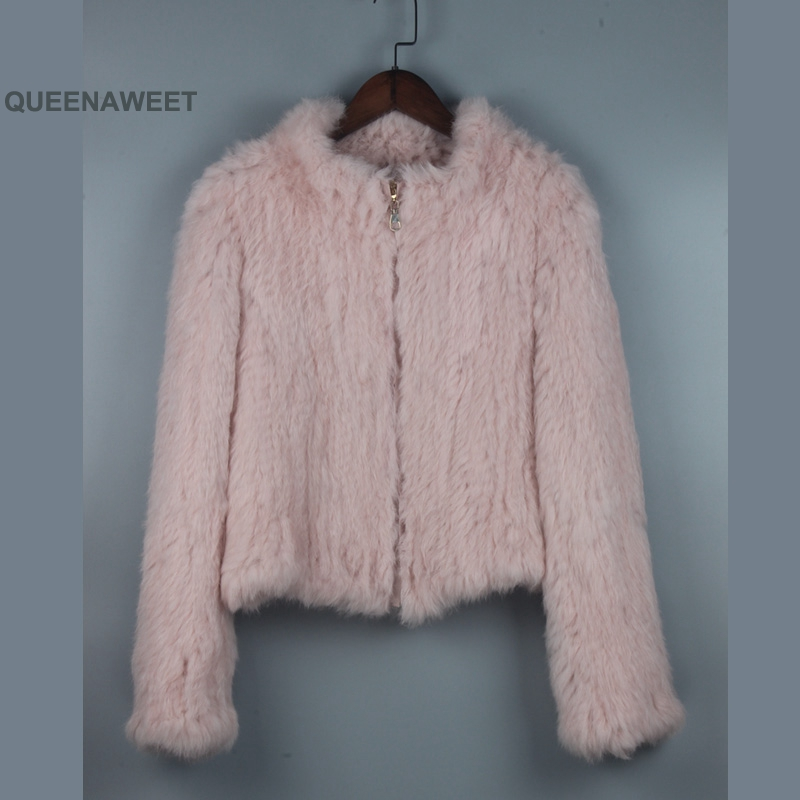 New Thick Knitted Real 100% Genuine Rabbit Fur Coat Women's Winter Fashion Style Ladies Jackets