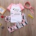2 шт. новорожденных девочек детей дети одежда розовый свободного покроя футболка + брюки с коротким рукавом наряды одежду , установленные девочки в возрасте 1-6Y