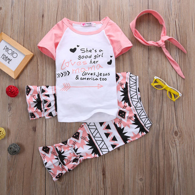241088712049 2pcs Baby Girls Children Kids Clothing Pink Casual Tops T-shirt + Pants  Short Sleeve Outfits Clothes Set Girl Age 1-6Y