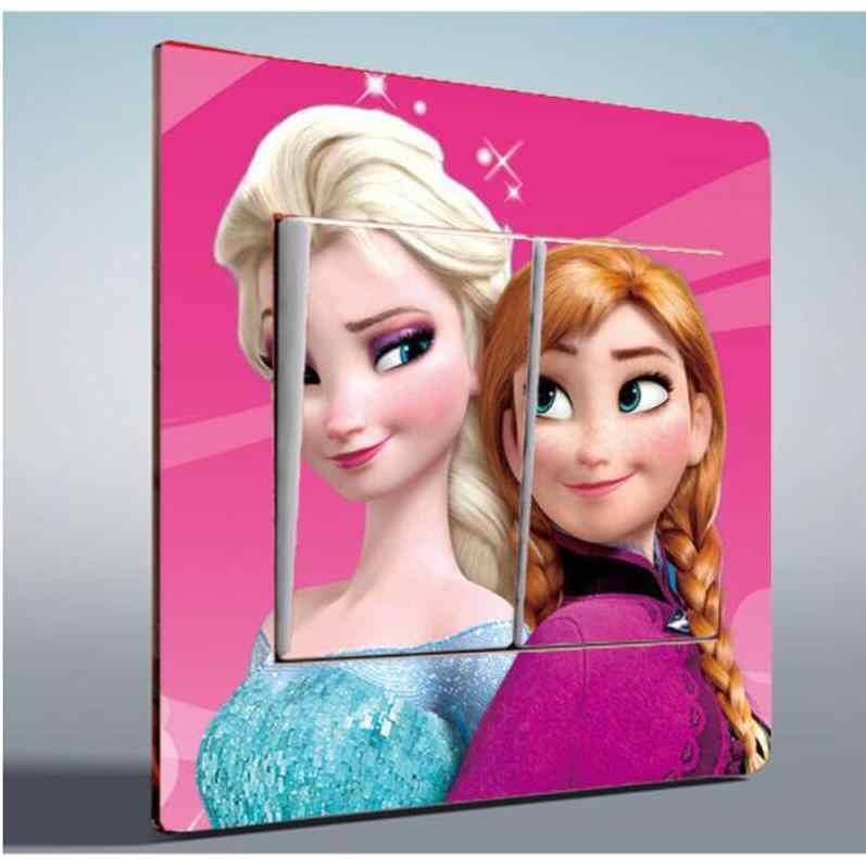 2 pcs การ์ตูนเจ้าหญิง Queen Elsa Princess Anna PVC สติ๊กเกอร์ติดผนังเด็กสาวห้องนอนสวิทช์สติกเกอร์ตกแต่ง