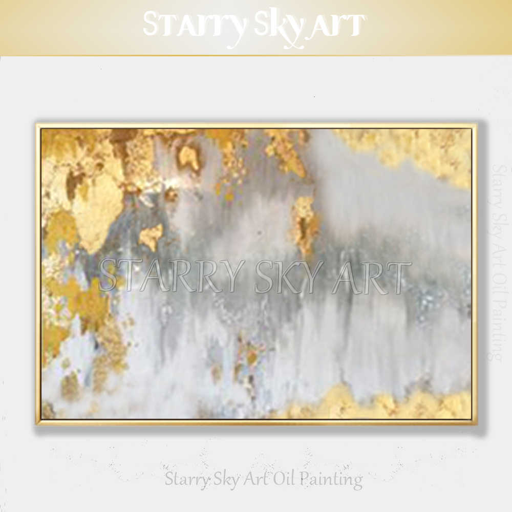 Excellent Artist Pure Hand-painted High Quality Abstract Golden Oil Painting on Canvas Luxury Gold Foil Abstract Oil Painting