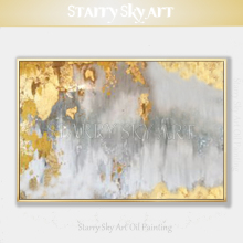 Excellent Artist Pure Hand-painted High Quality Abstract Golden Oil Painting on Canvas Luxury Gold Foil