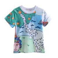 New Style Summer Boys T-shirt With Elephant Printings White Clothes Little Prince Kids Loose Cloting BT90220-637F