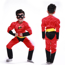 Superman mobilization costume children's catwalk superman muscle clothing Fantasy Cosplay Costume Comic Party Purim Halloween
